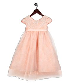 Look what I found on #zulily! Joe-Ella Peach Cap-Sleeve Tulle-Overlay Dress - Infant, Toddler & Girls by Joe-Ella #zulilyfinds
