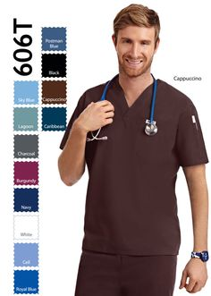 Basic Unisex scrub top with one chest pocket and one shoulder pocket. MOBB Regular Blend and Cotton. Medical Uniforms, Scrub Tops, Navy And White, Scrubs, Color Print, Long Sleeve Tees, V Neck, Unisex, Mobb