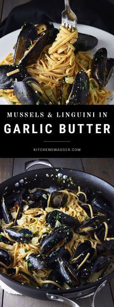 Mussels served over whole wheat linguine with a cream based garlic butter and white wine sauce.
