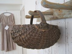 Early Primitive Hand Carved Wood Handle Basket Wonderful Country Patina .........~