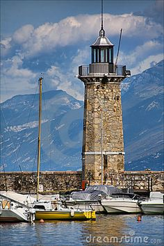 Beautiful lighthouse in Desenzano del Garda, by Lake Garda, Italy....Can't wait to return someday.  One of my favorite places...
