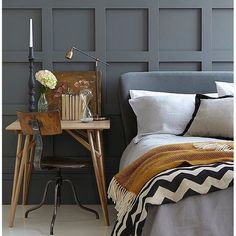 After watching #gidc & the room of @oliverthomasesq with that lovely wood panelling I've decided that I need to incorporate it into my home somewhere. It makes a room feel so grand & classic, I think my bedroom is the perfect place & this inspirational photo from @littlegreenepaintcompany ticks all my boxes! Geometrics, mustard yellow, dark grey & that panelling... yes please!!!  #dreamroom #interiordreams #interiorinspo #littlegreene #darkinteriors #allthingsmetric #geometric #vintagehome