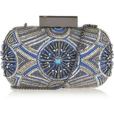 Matthew Williamson Embellished satin clutch ($1,060) ❤ liked on Polyvore featuring bags, handbags, clutches, blue, matthew williamson, chain handle handbags, sequin clutches, chain strap purse, sequin handbags and beaded clutches