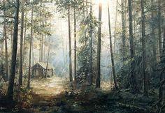 """Alexander Sarychev (Russe, b.1961) ~ """"Dans la Forêt de Conifères"""", 2002 ~ Huile sur Toile (60 x 90 cm) - Collection privée"""