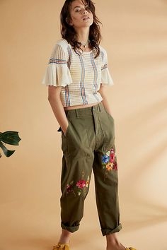 dfaef252e26ee5 Free People Striped Babes Only Tee and Rialto Jean Project Embroidered  Military Pant