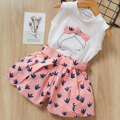 Cheap Clothing Sets, Buy Directly from China Suppliers:Melario Kids Girls Clothing Sets New Summer Baby Girls Clothes Short Sleeve T-Shirt + Shorts Suit Children Clothes Suits Kids Outfits Girls, Girl Outfits, Cute Outfits, Girls Dresses, Suit Fashion, Fashion Kids, Style Fashion, Fashion Shoes, Bow Skirt