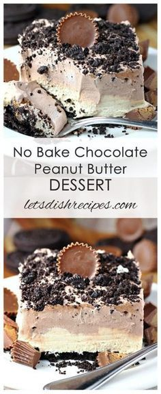 Chocolate Peanut Butter No-Bake Dessert Recipe | Peanut butter cups sandwiched between layers of chocolate and peanut butter mousse on an Oreo crumb crust.