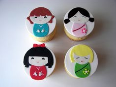 Kokeshi Cupcakes by death by cupcake, via Flickr