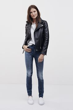 Go to look for Fall: Leather Jacket + Stripes + Denim + Classic Slip-Ons