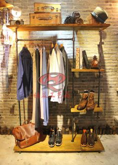 Aliexpress.com : Buy industrial loft American country to do the old wood  pipe coat rack clothing store display shelves retro fashion show from  Reliable ...