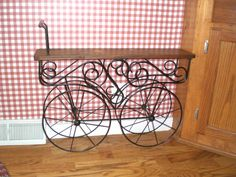 BEFORE pic of a cute little flower cart that my daughter found for me at a garage sale.