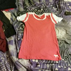 PINK tee Pink colored tee, worn once, NO TRADES :) PINK Victoria's Secret Tops Tees - Short Sleeve