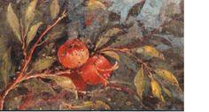 Fresco romano que representa el granado, símbolo de la fertilidad y fruto de la diosa Deméter.