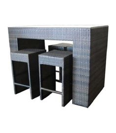 4-Seater Wicker Dry-Bar Set Low Stool, Bench Stool, Table Tops And Bases, Timber Table, Kitchen Benches, Bar Set, Bar Stools, Wicker, Tables
