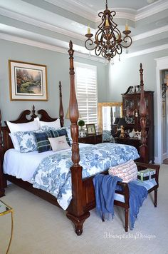 Master Bedroom-Christmas2016-Blue and White-Housepitality Designs