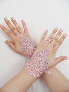 Free Ship, Wedding Gloves, pink lace gloves, Fingerless Gloves, bride, bridal gloves, Bridal accessories via Etsy