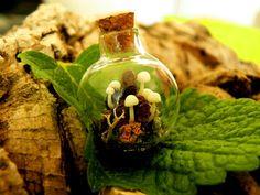 Glow in Dark Mushrooms in  round Glass bottle Pendant