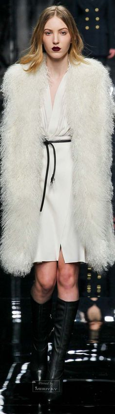 Ermanno Scervino.Fall 2015. White dress and fur, runway // Pinned by Dauphine Magazine x Castlefield - Curated by Castlefield Bridal & Branding Atelier and delivering the ultimate experience for the haute couture connoisseur! Visit www.dauphinemagazine.com, @dauphinemagazine on Instagram, and @dauphinemag on Pinterest • Visit Castlefield: www.castlefield.co and @ castlefieldco on Instagram / Luxury, fashion, weddings, bridal style, décor, travel, art, design, jewelry, photography, beauty