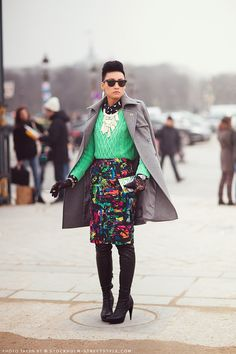 Who can pull off summer colors in the winter? I am absolutely obsessed with her style #Esther #Quek #Esther Quek