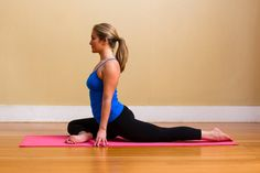 Pigeon Pose -- my favorite and the most painful but necessary pose, opens up those hip flexes