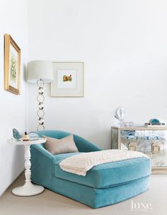 turquoise chaise