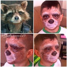 Rocket raccoon from Guardian of the Galaxy Makeup on my son. This a practice one so I didn't paint his ears.