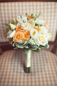 Orange and ivory bridesmaid's bouquet. An HGE wedding with photography by Forrest Forrest Harmsen Fitts Orange Wedding Flowers, Flower Bouquet Wedding, Floral Wedding, Fall Wedding, Dream Wedding, Wedding Ideas, Gold Bouquet, Wedding Colours, Bouquet Flowers