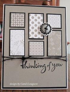 Good card layout for scraps or coordinating packs of patterned papers -- I like the monochromatic look of this one.