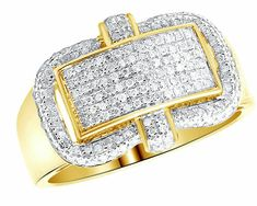 Men's Yellow Gold Over Invisible Pave Set Round Diamond Pinky Ring Ct. Bridal Ring Sets, Bridal Rings, Unique Wedding Bands, Wedding Ring Bands, Mens Pinky Ring, Round Diamonds, Gia Diamonds, Diamond Design, Engagement Ring Settings