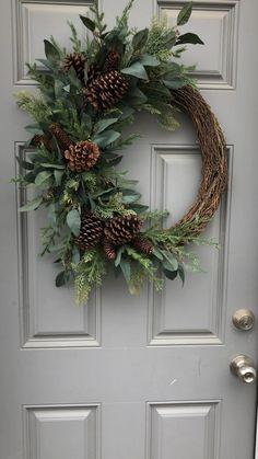 Blue Christmas Decor, Country Christmas Decorations, Noel Christmas, Christmas Centerpieces, Outdoor Christmas, Rustic Christmas, Xmas Decorations, Christmas Crafts, Holiday Decor