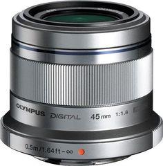 Olympus - M.Zuiko Digital ED 45mm f/1.8 Portrait Lens for Most Micro Four Thirds Cameras - Silver