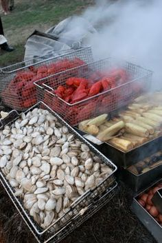 Clam bake with lobster, steamers, corn on the cob, potatoes and sausage - photo by: kate whitney lucey. Leaked picture of what Heaven looks like. Lobster Boil, Lobster Shack, Seafood Bake, Clams, Rhode Island, Back Home, Food Photo, New England, Entrees