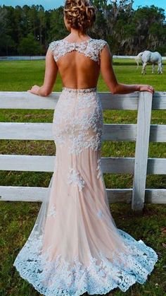Gorgeous Mermaid Prom Dress, Round Neck Long Prom Dress, Lace Appliques Backless Party Dress