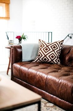 Leather sofa details in living room