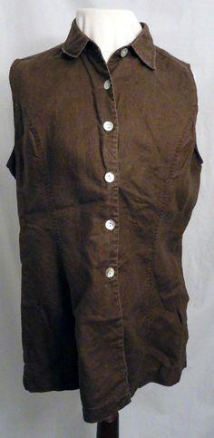 MERONA L 100% Linen Shirt Brown Button Front MOP Mother of Pearl Buttons #Merona #ButtonDownShirt #Casual
