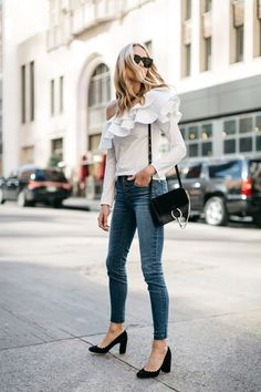 White Ruffle One Shoulder Top, Button Fly Jeans, Chloe Faye Handbag, Chloe Lauren Pumps, Fashion Jackson, Street Style Fashion