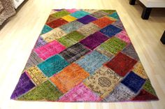 Handmade patchwork rug kilim  160x230 cm by Apexcarpets on Etsy, $385.00 How fun is this rug!?!!!!!!!