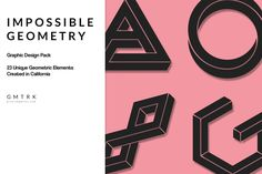 Geometric Design Kit - Impossible Geometry by Photific on Envato Elements Illustrator Shapes, Vector Shapes, Optical Illusions, Vector Graphics, Design Elements, Geometry, Photoshop, Social Media, Graphic Design