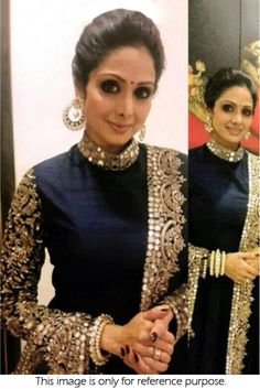 Shop for latest sridevi embroidered black party wear gown online on Bogglingshop Party Wear Indian Dresses, Pakistani Dresses, Dress Party, Wedding Dresses, Salwar Kameez, Churidar, Indian Suits, Indian Wear, Indian Style