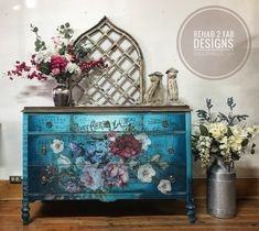 Excited to share this item from my #etsy shop: Antique Painted Dresser with Floral Design transfer from Redesign with Prima