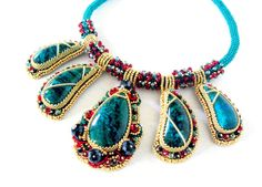Colorful beaded necklace with chrysocolla.