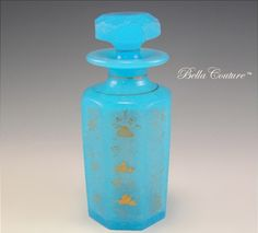 Bella Couture® - SOLD! - Antique 1800s French Blue Opaline Hand-painted Gold Floral Scent Perfume Bottle, $105.00 (http://www.bellacouture.com/sold-antique-1800s-french-blue-opaline-hand-painted-gold-floral-scent-perfume-bottle/)