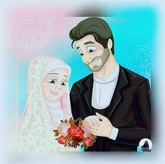 Muslim Couples, Muslim Women, Girl Cartoon, Cartoon Art, Islamic Cartoon, Anime Muslim, Hijab Cartoon, Cute Girl Drawing, Islamic Girl