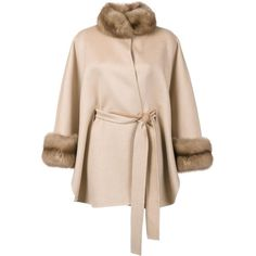 J. Mendel fur detailing belted cape (21 890 585 LBP) ❤ liked on Polyvore featuring outerwear, belted capes, j. mendel, fur trimmed cape, belted cape coat and pink cape