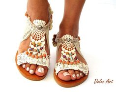 Pom Pom sandals, cotton lace leather Sandals, wedding boho Sandals, Greek Sandals, handmade sandals