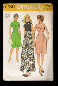 Vintage 1972 Simplicity 5236  Evening Length Hostess Dress with a Sweetheart Shaped Yoke High Collar & Sleeveless 2 Day Looks Also