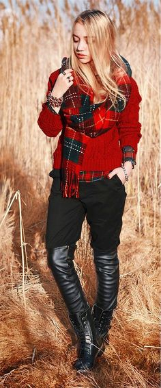 red + black - love the scarf!