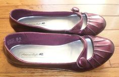 WOMENS 6.5 AMERICAN EAGLE FLATS shoes CRANBERRY shimmery MARY JANES slip-ons