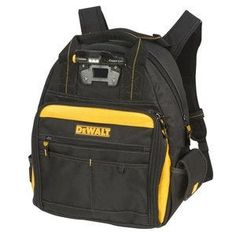 DEWALT Zippered Backpack at Lowe's. DeWalt's LED lighted tool backpack features pockets to help keep busy contractors organized and productive. The LED light is designed to help you work in Tool Backpack, Dewalt Tools, Pocket Light, Wrench Set, Daisy Chain, Construction, Black Friday Deals, Tool Storage, Black N Yellow