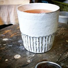 """My new daily mug! Love it so much... It's a piece of my collection """"glossy grit"""" . A simple design wich combine a rough clay with a glossy white glaze... Take a look at the #holyshitshopping #market in #berlin 3./4.12.2016 ! Uglyducklys are waiting of you!!! #mug #designfair #craft #tasse #becher #tumbler #rough #glossywhite #glossy #clay #pottery #teaorcoffee #ceramics #keramik #smiledesign #design #contemporarydesign #homeware #tableware #handmade #loveit #new #myfavourite"""